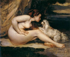 Gustave Courbet - Nude Woman with Dog