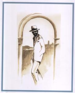 Lawrence a Tarquinia, acquerello di Brian Mobbs